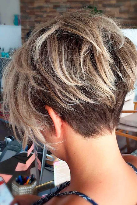 Desordenado Pixie Haircut, Mujeres Bob Choppy Blonde