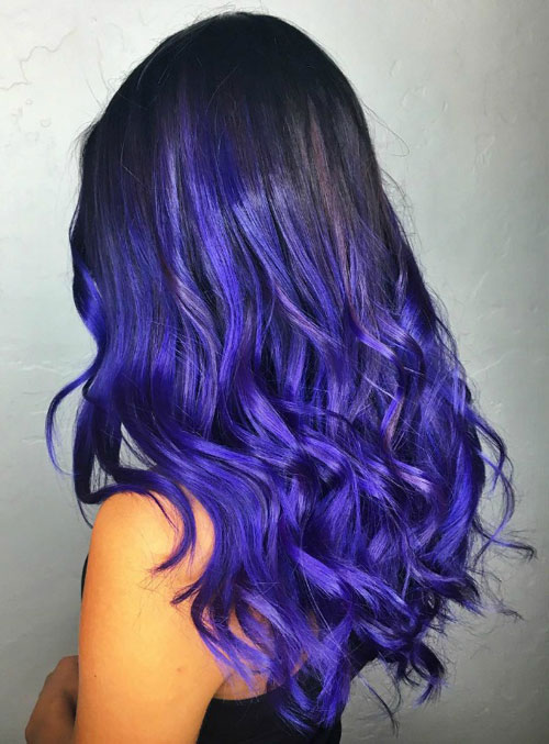 Neon Purple Ombre Hair Color