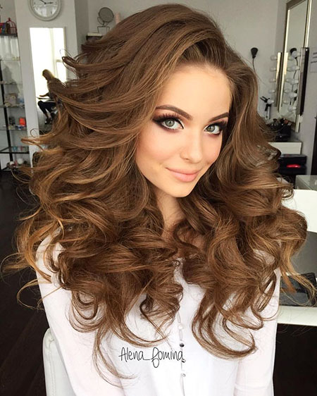 Volumen de la boda largo Curls Brown 2017