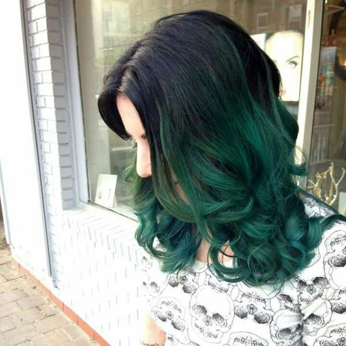 Emerald Green Ombre Hair Color
